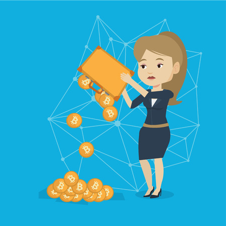 Young caucasian white business woman shaking out bitcoin coins from her briefcase. Blockchain network technology, bitcoin trading and cryptocurrency mining concept. Vector cartoon illustration.