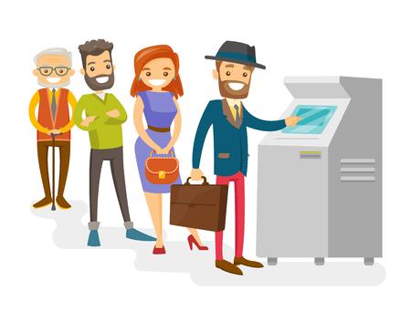 白人白人の若者と高齢者のグループがATMに並んで立っている幸せな人々は、ATMで現金を引き出すために列を作る。 写真素材 - 92650764