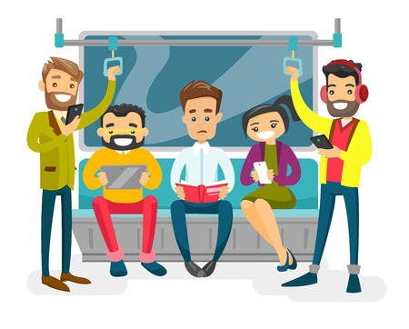 Caucasian white people reading book, using smartphones and tablet computer. Listening music in headphone in the metro. Group of young passengers traveling by metro. Vector isolated cartoon illustration. Ilustração