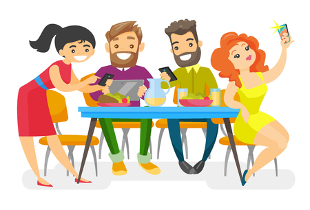 Caucasian white group of young friends sitting together at the table with smartphones and tablet computer. Friends with electronic gadgets hanging out together. Vector isolated cartoon illustration. Illustration