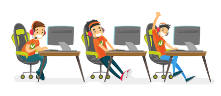 Team of Caucasian white teenage gamer playing video game on a cyber sport tournament. Group of happy boys in headsets playing on computers in electronic sports. Vector isolated cartoon illustration.