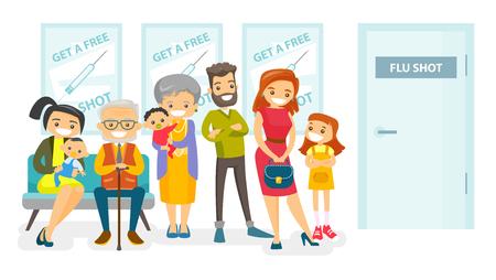 Groupe de jeunes et de personnes âgées de race blanche, faisant la queue à l'hôpital pour se faire vacciner contre la grippe. Les patients en attente d'un médecin dans le hall de l'hôpital. Illustration de dessin animé isolé de vecteur