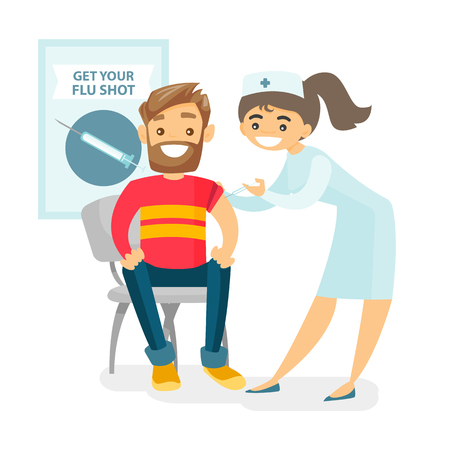 Caucasian white doctor woman giving a free flu vaccination shot to the arm of a male patient. Young happy smiling doctor vaccinating a hipster man against flu. Vector isolated cartoon illustration. Иллюстрация