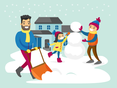 Young caucasian white father removing snow with a shovel in the yard while his son and daughter playing in the snow and making a snowman on snowy winter day. Vector cartoon illustration.