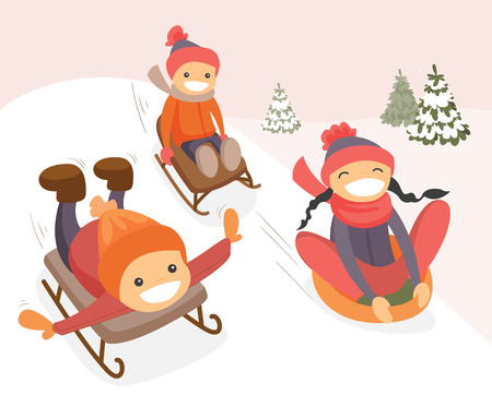 Group of happy laughing boys and girl sliding down on rubber tubes and sledge in the winter park.