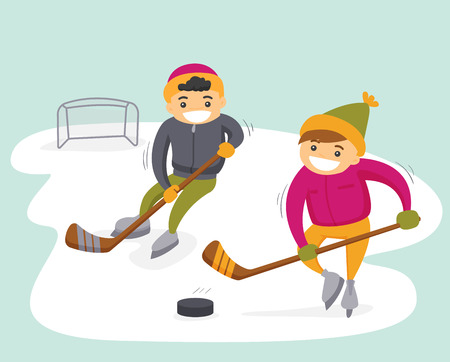 Two teenage boys playing ice hockey on an outdoor ice skating rink. Stock Vector - 92651266