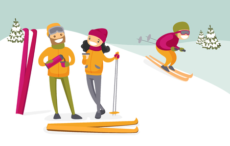 Caucasian white couple of skiers drinking hot coffee from thermos at ski resort. Young woman and man having break after skiing in the mountains. Family vacation concept. Vector cartoon illustration. Illustration