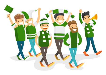 Group of caucasian white happy sport fans in green outfit cheering for their team. Football fans with flag and scarfs strolling. Vector cartoon illustration isolated on white background.