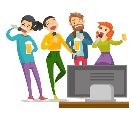 Young caucasian white friends drinking beer and singing karaoke together at home. Group of friends having fun at karaoke party. Vector cartoon illustration isolated on white background. Square layout.