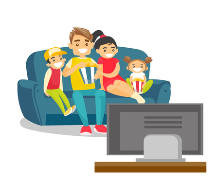 Happy caucasian white parents with their kids sitting on the couch, eating popcorn and watching television together at home. Vector cartoon illustration isolated on white background. Square layout. Stock Illustratie