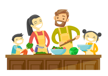 Young multiracial parents with son and daughter cooking together at home. Couple with biracial kids having fun while preparing vegetable meal. Vector cartoon illustration isolated on white background.