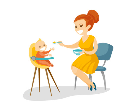 Young caucasian white mother feeding with a porridge her little baby sitting on kids chair. Mother feeding baby with a spoon. Vector cartoon illustration isolated on white background. Square layout. Ilustração