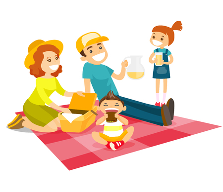 Young caucasian white family having a picnic in the park outdoors. Cheerful parents with their children sitting on the duvet during a picnic in the park. Vector cartoon illustration. Square layout.
