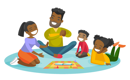 Young happy african parents with their little children sitting on the floor and playing together board game at home. Family vacation concept. Vector cartoon illustration isolated on white background. Vettoriali