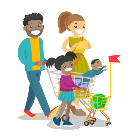 Happy multicultural family with kids shopping. Young african-american father and caucasian white mother with their biracial children walking with shopping cart. Vector isolated cartoon illustration. Vettoriali