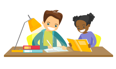 Caucasian white brother and african sister sitting at the table and doing homework together. Girl reading a book while her brother writes in the exercise book. Vector isolated cartoon illustration.