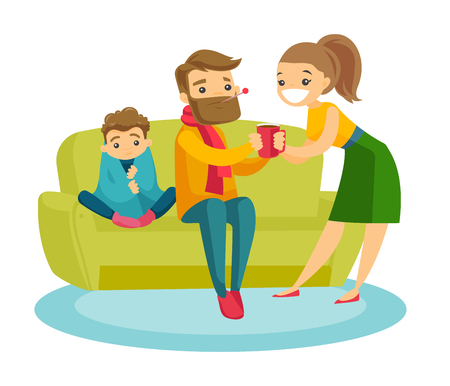 Young caucasian white sick father with thermometer in mouth and his ill son covered with a blanket sitting on the couch while careful mother standing nearby with a mug. Vector cartoon illustration. Illustration