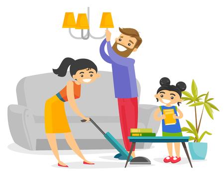 Familia blanca caucásica joven que se divierte mientras que limpia la sala de estar todos junto. Pequeña hija que ayuda a madre y padre a limpiar una casa. Ilustración de dibujos animados de vector aislado sobre fondo blanco. Ilustración de vector