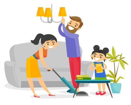 Young caucasian white family having fun while cleaning living room all together. Little daughter helping mother and father to clean a house. Vector cartoon illustration isolated on white background.