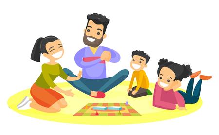 Padres blancos caucásicos jovenes con sus pequeños niños que se sientan en el piso y que juegan junto al juego de mesa en casa. Concepto de vacaciones familiares Ilustración de dibujos animados de vector aislado sobre fondo blanco