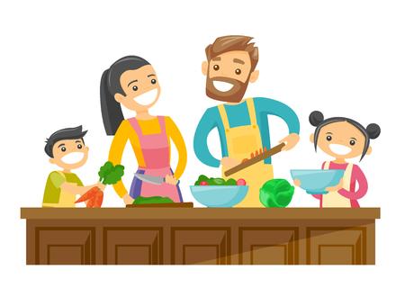 Padres blancos caucásicos jovenes con su hijo e hija que cocinan junto en casa. Pareja con niños divirtiéndose mientras se prepara la comida vegetal. Ilustración de dibujos animados de vector aislado sobre fondo blanco