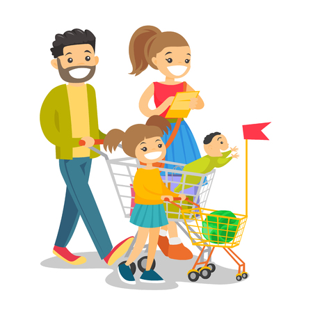 Happy caucasian white family with kids shopping. Young family walking with purchases, shopping bags, list and cart. Consumerism, shopping and family concept. Vector isolated cartoon illustration.
