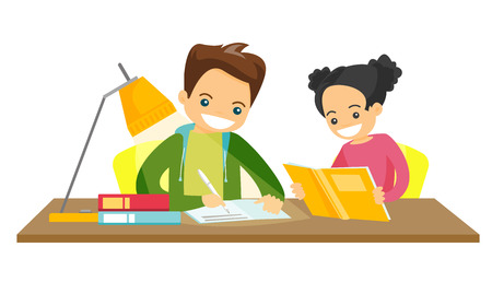 Young caucasian white brother and sister sitting at the table and doing homework at home together. Girl reading a book while her brother writes in exercise book. Vector isolated cartoon illustration.