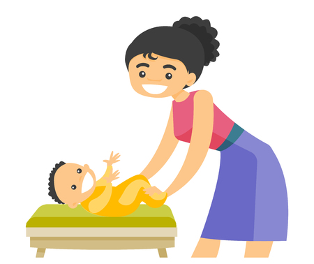 Young caucasian white mother taking care of smiling newborn baby lying on changing table. Happy mother changing clothing to her infant. Vector cartoon illustration isolated on white background. Vettoriali