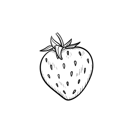 Vector hand drawn strawberry outline doodle icon. Strawberry sketch illustration for print, web, mobile and infographics isolated on white background.
