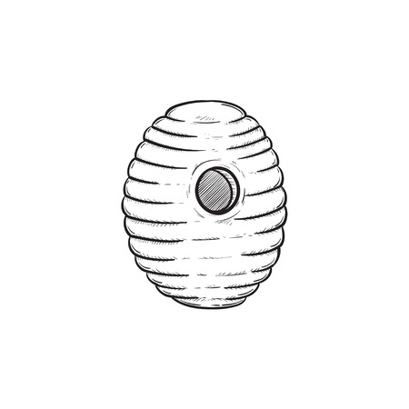 Vector hand drawn bee hive outline doodle icon. Bee hive sketch illustration for print, web, mobile and info graphics isolated on white background.