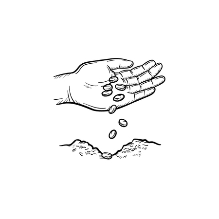 Human hand planting seeds in ground hand drawn vector outline doodle icon. Human hand with seeds sketch illustration for print, web, mobile and info-graphics. Isolated on white background.