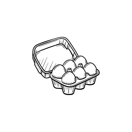 Eggs in carton pack hand drawn vector outline doodle icon. Eggs in carton pack sketch illustration for print, web, mobile and info-graphics. Isolated on white background. Stock Illustratie