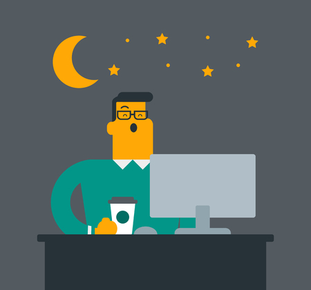 Young Caucasian white sleepy tired office worker holding a cup of coffee and yawning while working in the office at night. Vector cartoon illustration. Square layout illustration.