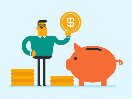 Caucasian white businessman putting a dollar golden coin in a big piggy bank. Young businessman saving his money in a piggy bank. Concept of saving money in cartoon illustration, Square layout. Illustration