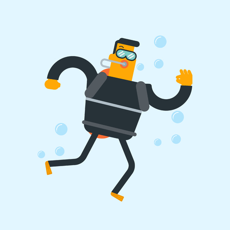 Young Caucasian white man in diving suit and fins swimming underwater with scuba and showing ok sign. Man enjoying the dive. Vector cartoon illustration. Square layout illustration. Illustration