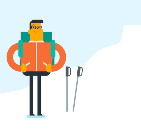 Young Caucasian white mountaineer climbing a snowy mountain ridge with help of hiking poles. Man with a backpack and trekking poles walking up along a ridge. Vector cartoon illustration. Square layout illustration.
