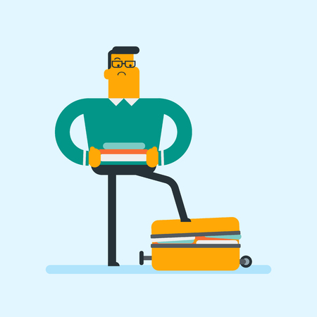Young Caucasian white man standing on a suitcase and trying to close it. Frustrated man having problems with packing a lot of clothes into a single suitcase. Vector cartoon illustration. Square layout illustration.