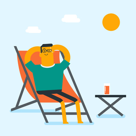 Young happy caucasian white man sitting on the chaise-longue with folded arms behind his head and drinking a cocktail. Tourism and vacation concept cartoon illustration. in square layout.