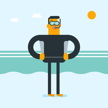 Young caucasian white scuba diver in diving suit, flippers, mask and tube standing on the background of sea waves. Full length of male scuba diver in cartoon illustration, Square layout.