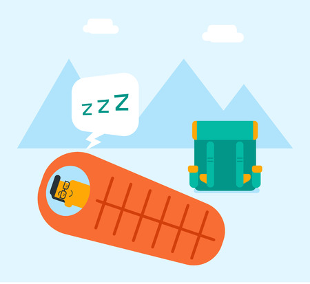 Young caucasian white man sleeping in a sleeping bag during a hike in the mountains. Smiling man laying on the ground wrapped up in a mummy sleeping bag in cartoon illustration, Square layout. Illustration