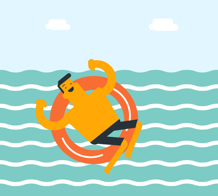 Young happy caucasian white man swimming with lifebuoy. Cheerful man having fun in the sea with lifebuoy. Summer vacation and tourism concept. Vector cartoon illustration. Square layout.
