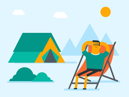Young caucasian white man sitting in a folding chair on the background of camping with tent. Satisfied man relaxing and enjoying his vacation in the camping. Travel and tourism, vacation and holiday concept in cartoon illustration, Square layout. Ilustração