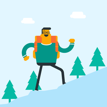Young Caucasian white backpacker with backpack walking outdoor. Cheerful backpacker hiking in the forest during summer trip. Concept of hike and backpacking. Vector cartoon illustration. Square layout illustration.