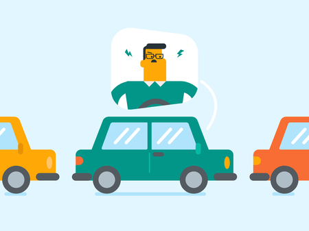 Angry Caucasian white man in a car stuck in a traffic jam. Irritated young man driving a car in a traffic jam. Vector cartoon illustration. Square layout.