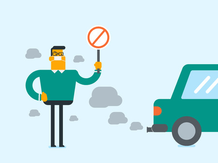 Young caucasian white man wearing mask because of toxic air pollution and holding red forbidden traffic sign while standing near the car with traffic fumes in cartoon illustration, Square layout.
