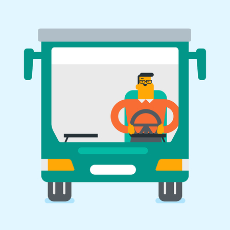 Young caucasian white bus driver sitting and holding steering wheel.
