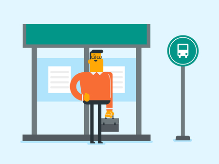 Young Caucasian white businessman with a briefcase waiting for a bus at the bus stop. Happy man standing at the bus stop. Vector cartoon illustration. Square layout. Ilustracja