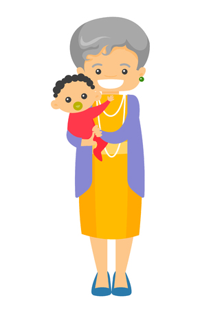 Happy senior caucasian white grandmother holding cute little baby grandson with pacifier. Vector cartoon illustration isolated on white background. Ilustração