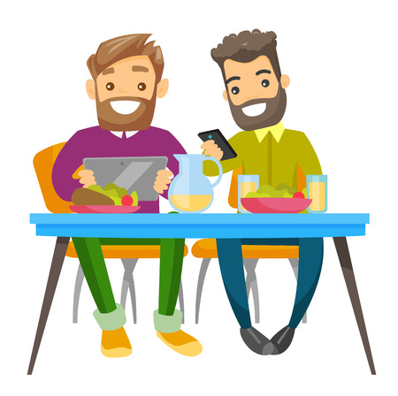 Two young caucasian white men sitting together at the table with smartphone and tablet computer. Friends with gadgets hanging out together. Vector cartoon illustration isolated on white background.
