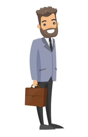 Young caucasian businessman holding a briefcase.